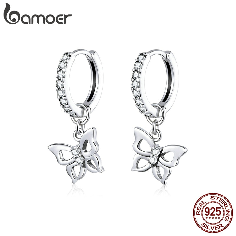 bamoer Dazzling Butterfly Hoop Earrings for Women 925 Sterling Silver Engagemet Wedding Statement Jewelry Pendientes SCE833