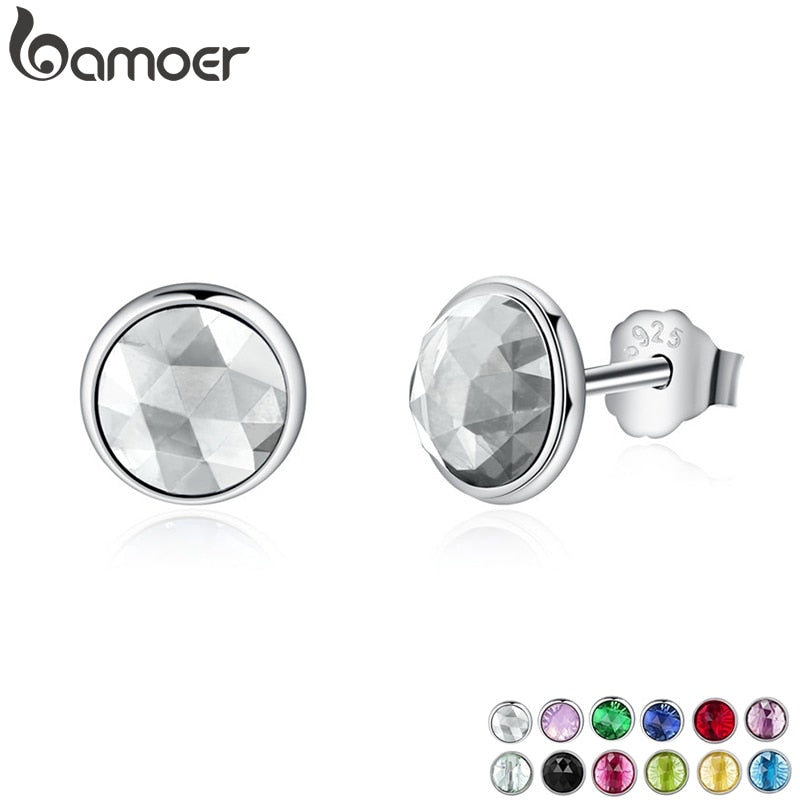 BAMOER Popular 925 Sterling Silver April Birthstone Droplets, Rock Crystal Stud Earrings For Women Fashion Jewelry PAS498