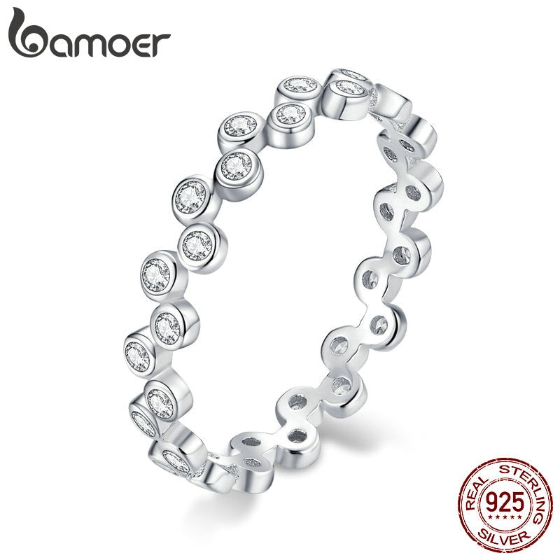 bamoer S925 Sterling Silver AAA Clear CZ Bubble Stackable Finger Rings for Women Engagement Wedding Statement Jewelry BSR123