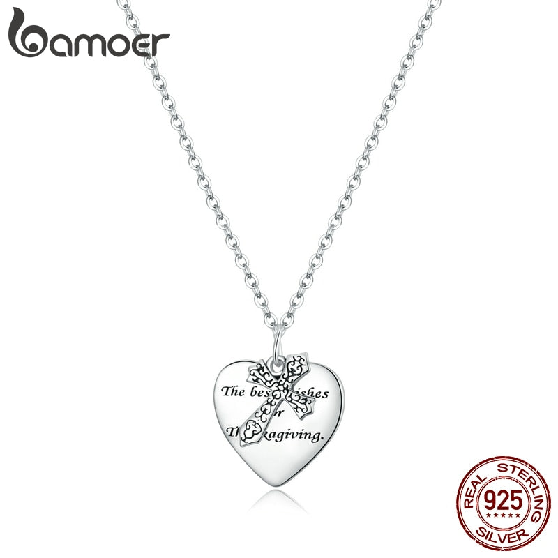 bamoer 925 Sterling Silver Luxury Vine Cross Chain silver Necklace for Women Jewelry 2020 New Bijoux Girl Gifts necklace SCN416