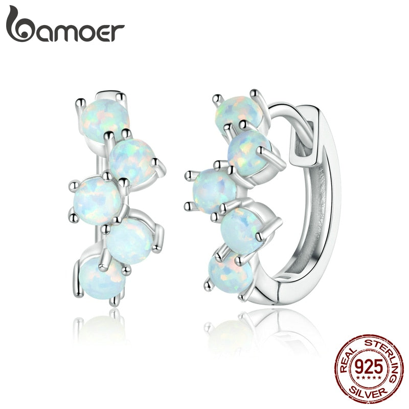 bamoer Genuine 925 Sterling Silver Dreamy Bubbles Plated platinum Stud Earrings for Women Fine Jewelry 2020 New Bijoux SCE941