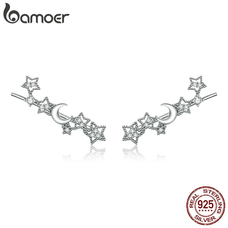 bamoer Genuine 925 Sterling Silver Stars and Moon Stud Earrings for Women silver Jewelry 2020 Brincos EarringSCE926