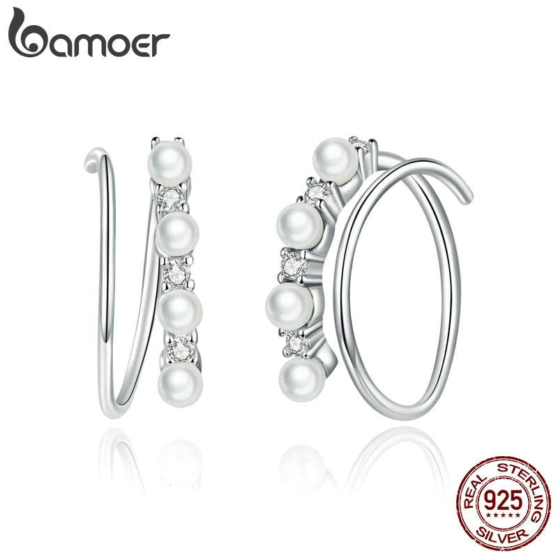 bamoer Simple Geometry CZ platinum Stud Earrings for Women 925 Sterling Silver Ear Pins Jewelry 2020  New Design Brincos SCE932