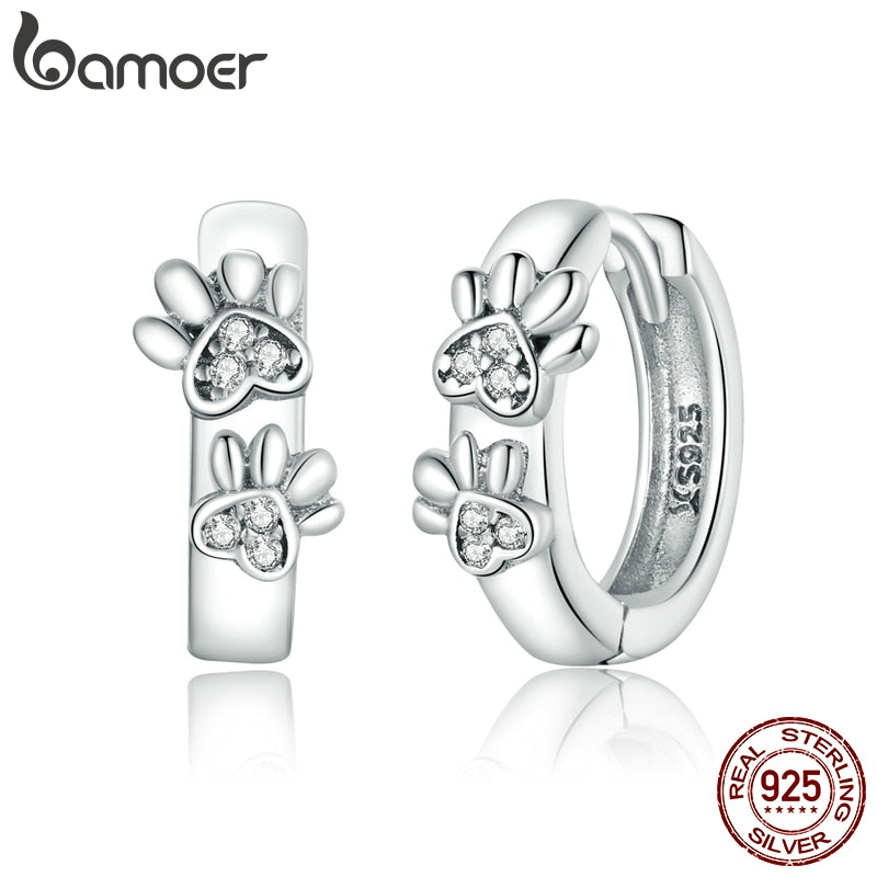 bamoer Genuine 925 Sterling Silver Cute Paw Print Stud Earrings for Women Original Design Fine Jewelry Bijoux Brincos SCE938