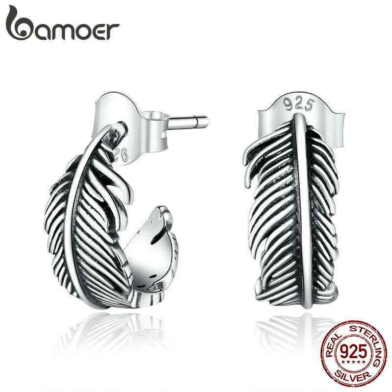 bamoer 925 Sterling Silver Jewelry Dazzling Light Feather Stud Earrings for Women Girls Gift Statement Jewelry earring SCE923