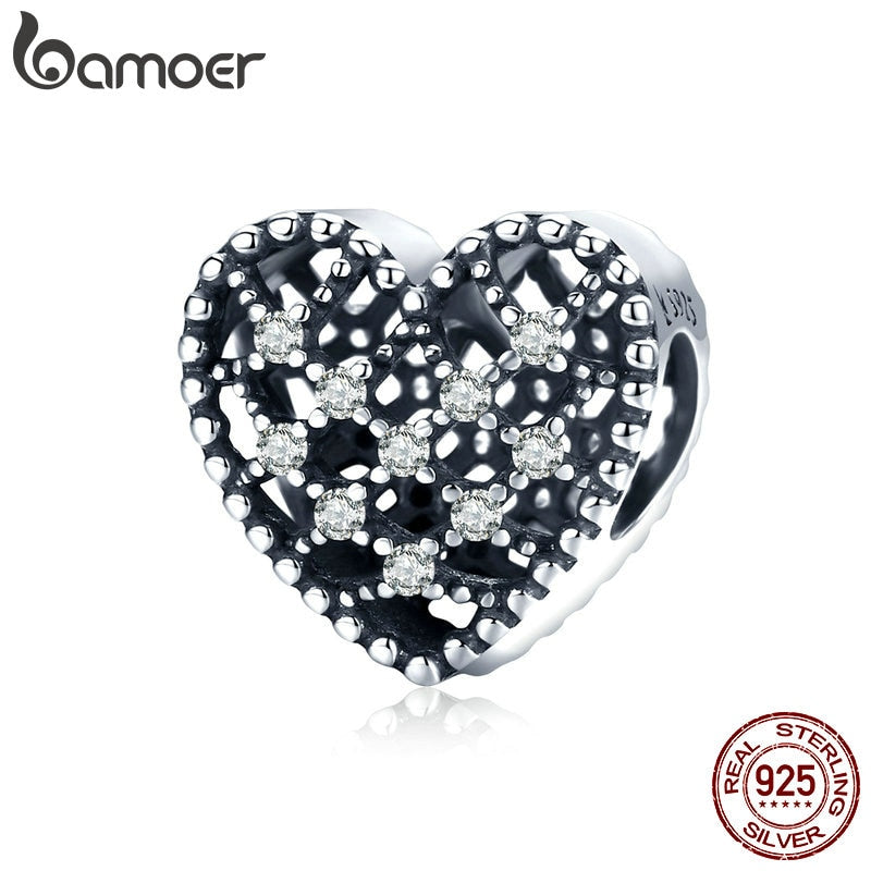 bamoer Shining Heart Charm for Original Silver Bracelet or Bangle 925 Sterling Silver Fine Jewelry SCC1572