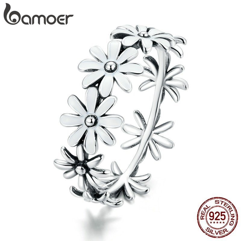 bamoer 925 Sterling Silver Little Daisy Finger Rings for Women Vintage Retro Stackable Rings Band Silver Fine Jewelry SCR670