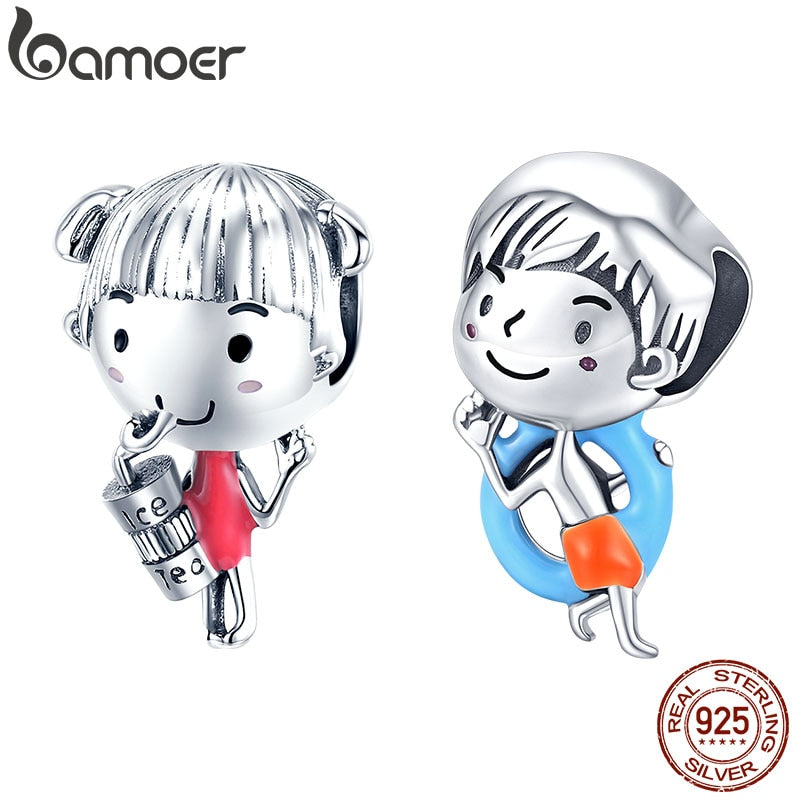 bamoer Summer Holiday Enamel Series Girl and Boy Charm Genuine 925 Sterling Silver Charm for Original Silver Braelet SCC1525