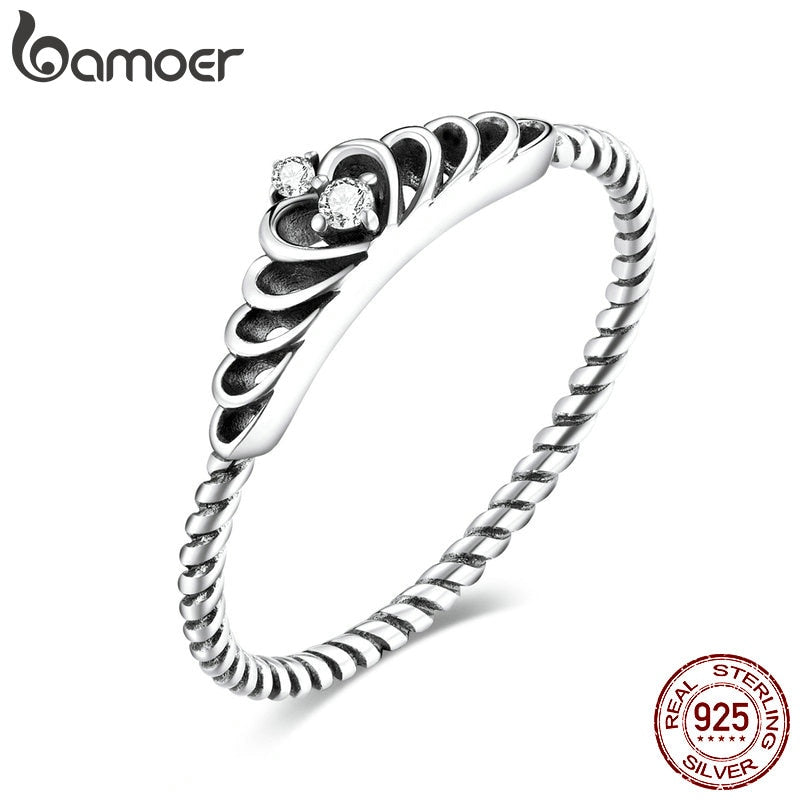 bamoer Authentic 925 Sterling Silver Dazzling Crown CZ Pendant Finger Rings for Women Engagement Statement Jewelry SCR663
