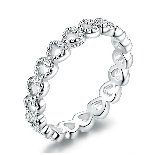 bamoer 3 STYLE BRAIDED PAVE LEAVES My Princess Queen Crown SILVER Color RING Twist Of Fate Stackable Ring PA7222