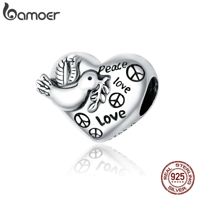 bamoer Real 925 Sterling Silver Love and Peace Beads Protect Heart Metal Charm fit Original Silver DIY Bracelet Jewelry SCC1580