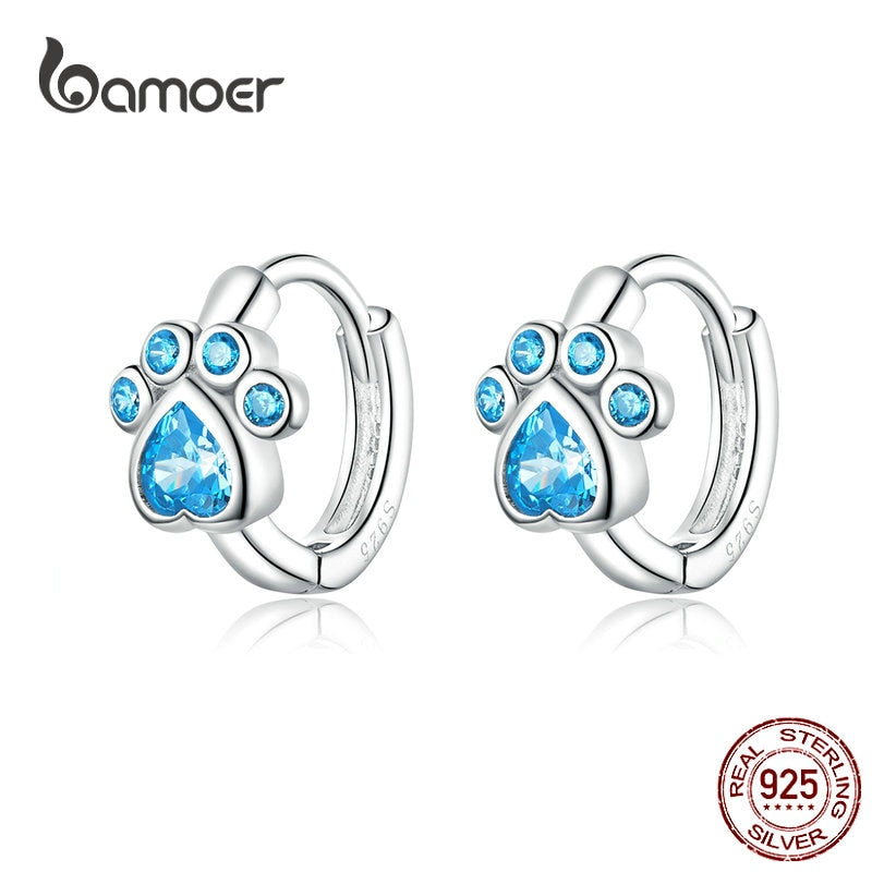 bamoer Authentic 925 Sterling Silver Pets' Footprint Stud Earrings for Women Plated platinum Silver Jewelry SCE670