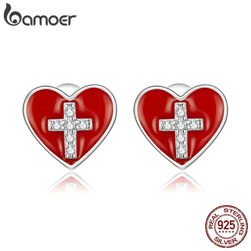 bamoer Genuine 925 Sterling Silver Cross with Heart Plated platinum CZ Stud Earrings for Women Jewelry 2020 Brincos BSE418