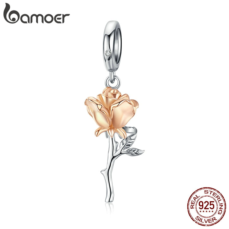 bamoer 3D Rose Flower Pendant Charm 925 Sterling Silver Rose Gold Color Charms for Bracelet or Necklace DIY Bijoux BSC145