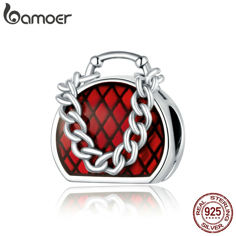 bamoer Charming Handbag Charm for Original Silver Bracelet & Bangle 925 Sterling Silver DIY Jewelry Bracelet make BSC345