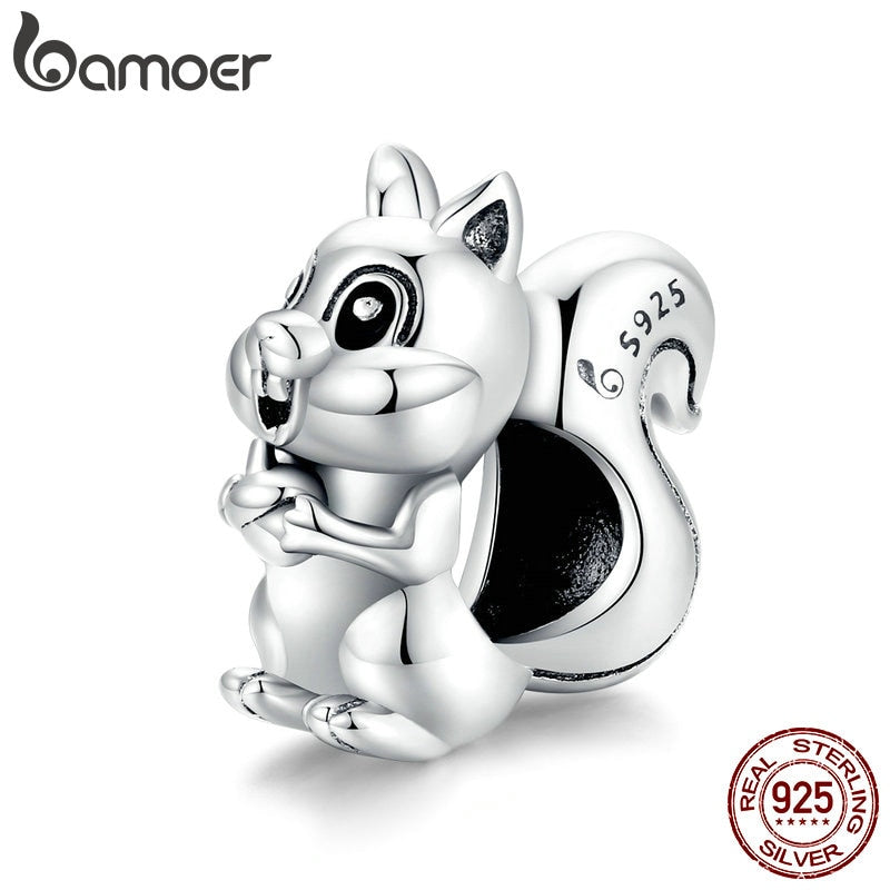 bamoer 925 Sterling Silver Cute Squirrel silver Original Charm for Brand DIY Jewelry Bracelet Make for women Girl BSC338