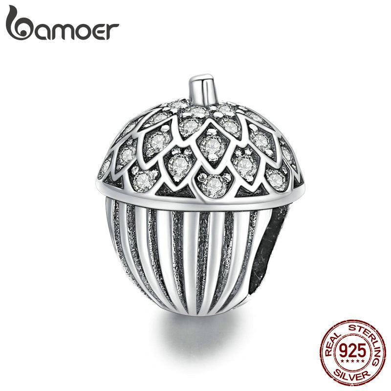 bamoer Genuine 925 Sterling Silver CZ silver Lucky Pine Cone Original Charm for Brand Female DIY Bracelet Jewelry BSC337