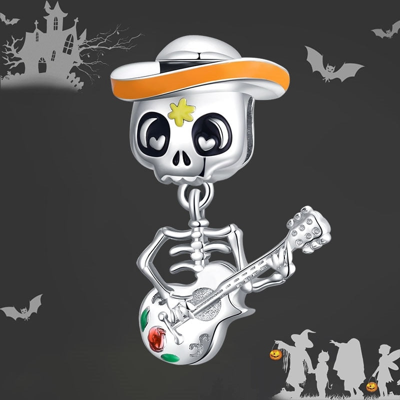 bamoer 925 Sterling Silver Halloween Skull Man with Guitar Charm for Original Silver  Bracelet Fine Jewelry DIY Bangle BSC327