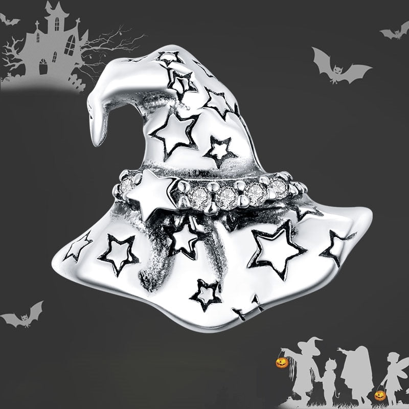 bamoer 925 Sterling Silver Halloween Witch Hat silver Original Charm for Brand DIY Jewelry Make women Girls gift SCC1621