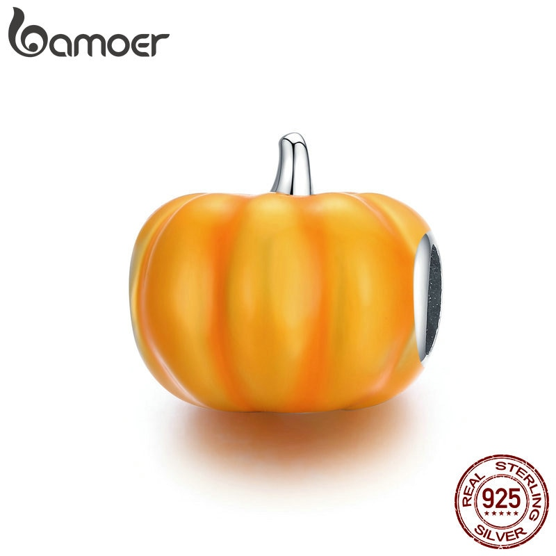 bamoer 925 Sterling Silver Cute Pumpkin Charm for Original Silver Plated platinum Bracelet Fine Jewelry DIY Bangle BSC333