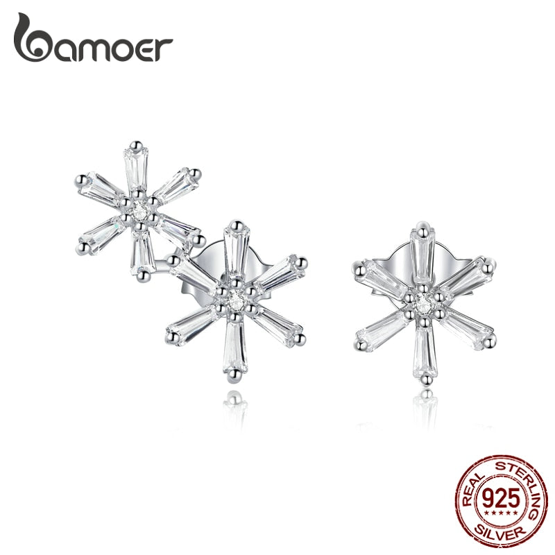 bamoer Real 925 Sterling Silver Elegant Snowflakes CZ Stone Stud silver Earrings for Women Animal Jewelry for Girl BSE425
