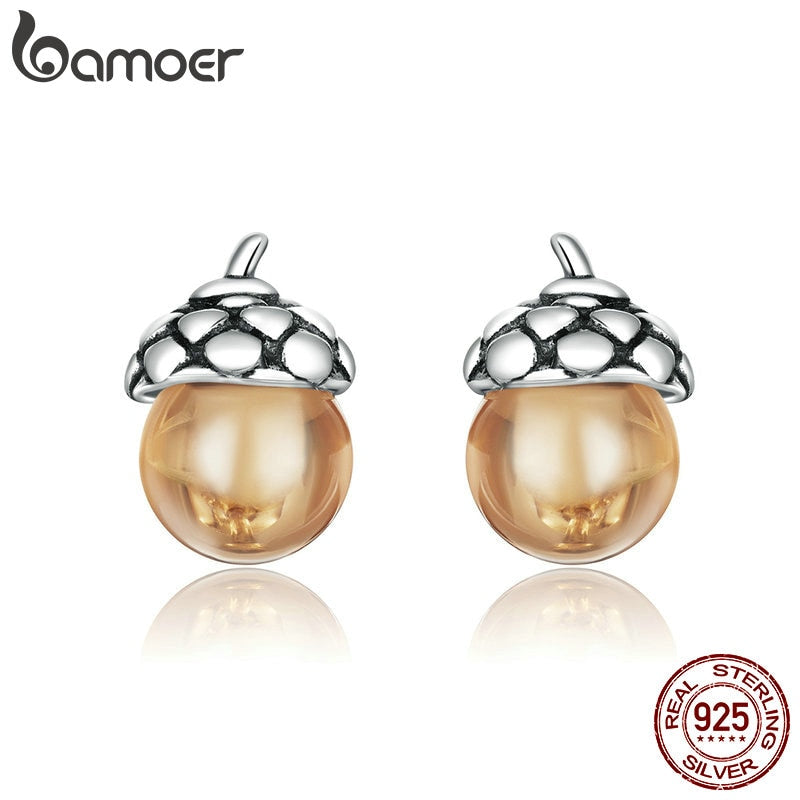 bamoer Stud Earrings for Women 925 Sterling Silver silver Ear Studs Shining Acorns Engagement Statement Jewelry earring SCE935