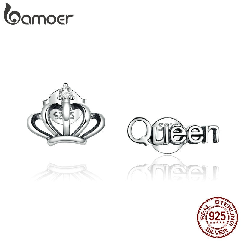 bamoer Simple Crown silver Stud Earrings for Women 925 Sterling Silver Ear Pins Jewelry 2020  New Design Brincos earring SCE934