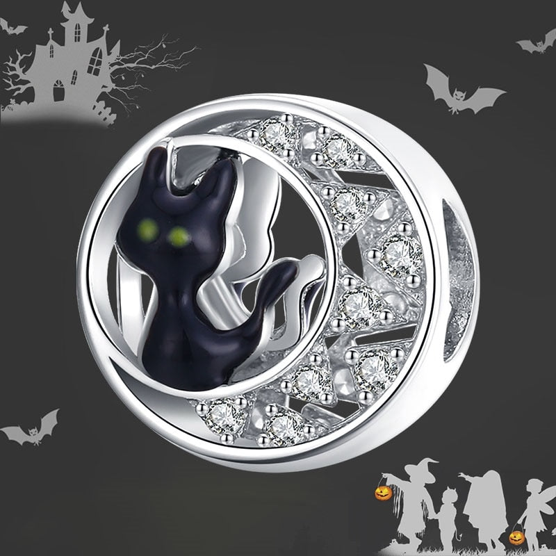 bamoer 925 Sterling Silver Original Charm Halloween Black Cat CZ silver for Brand Jewelry DIY Make for women Girl BSC325