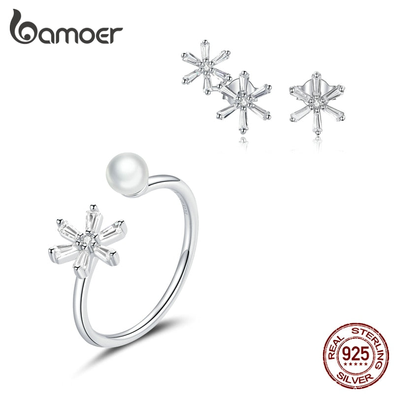 bamoer 925 Sterling Silver Dazzling Snowflake Finger Rings and Earrings Jewelry Sets for Women Wedding Statement Jewelry ZHS214