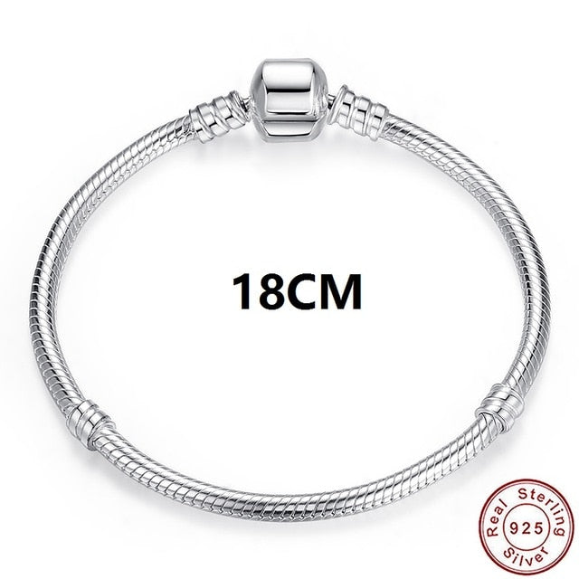 WOSTU Luxury Original 100% 925 Sterling Silver Snake Chain Bracelet Bangle for Women Authentic Charm Jewelry Pulseira Gift