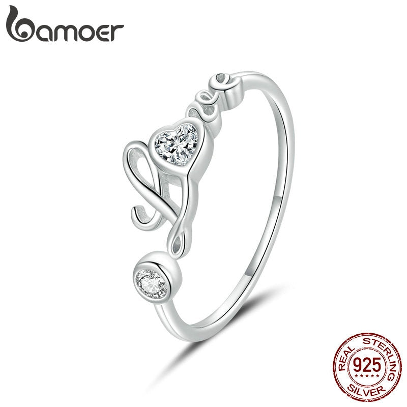 bamoer 925 Sterling Silver Love Ring Open Adjustable Finger Rings for Women Fine Wedding finger ring Jewelry 2020 New BSR146