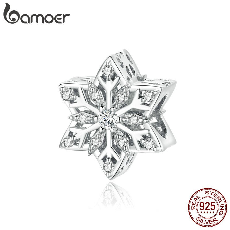 bamoer Shiny Snowflakes Metal Beads for Women Jewelry Making 925 Sterling Silver Charm fit Silver women DIY Bracelet BSC368