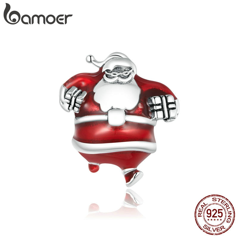 bamoer 925 Sterling Silver Merry Christmas Santa Claus Beads for Original Bracelet Charms Fine Jewelry Accessories SCC1664