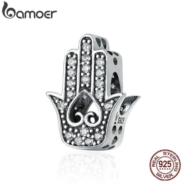 BAMOER Authentic 925 Sterling Silver Good Luck Hand Of Fatima Charms fit Women Bracelets & Necklaces DIY Silver jewelry SCC225