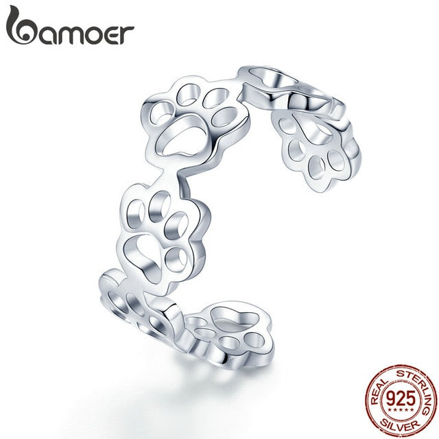 BAMOER Hot Sale 925 Sterling Silver Adjustable Cat And Dog Footprints Paw Trail Rings for Women Party Silver Jewelry SCR424