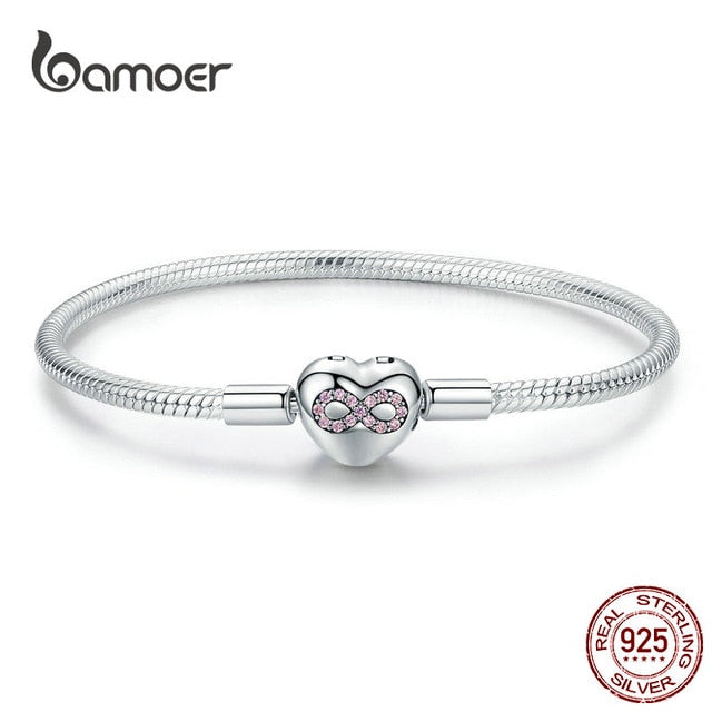 BAMOER Infinity Heart Bracelet Sterling Silver 925 Heart-shape Love Snake Bangle Bracelets 3mm for DIY Fine Jewelry SCB142