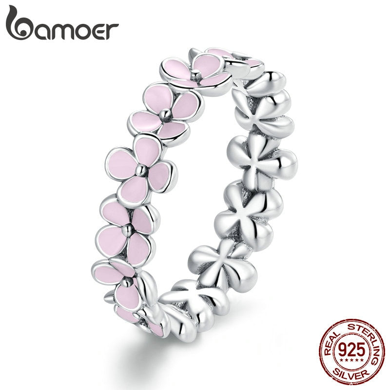 bamoer S925 Sterling Silver Pink Wreath CZ Finger Rings for Women Engagement Wedding Finger Ring Statement Jewelry SCR681