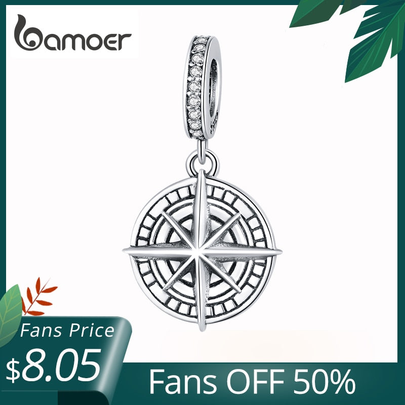 bamoer 925 Sterling Silver Compass Pendant Charm for Original Brand Bracelet Embossed Pattern Silver beads jewelry make BSC383