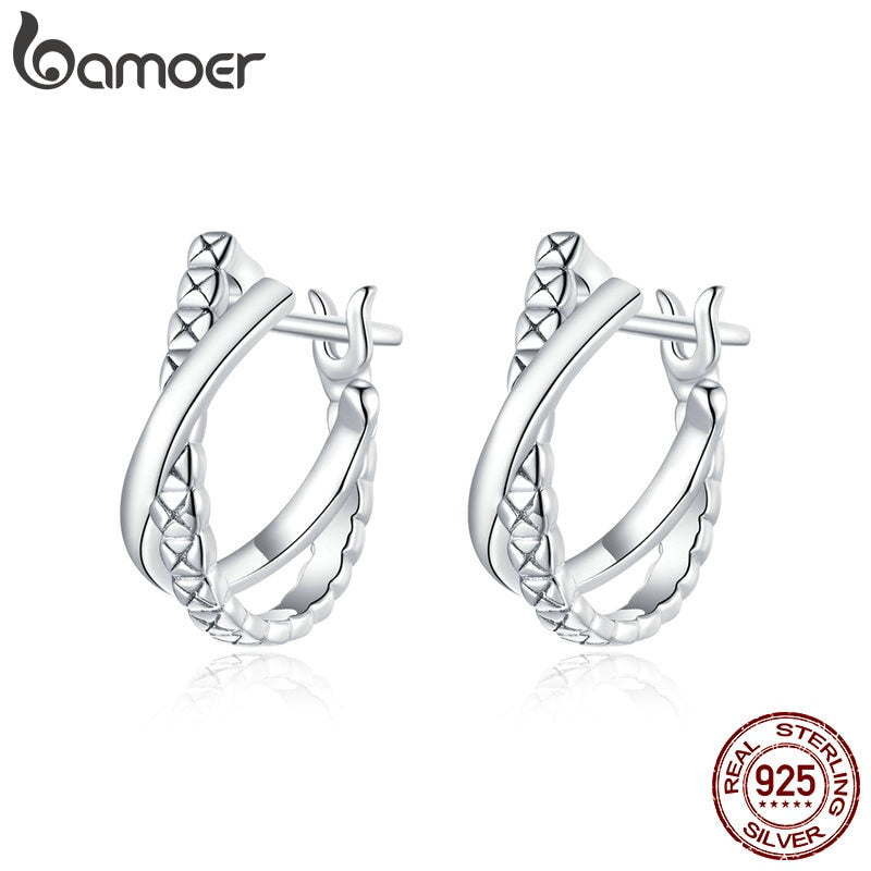 bamoer Genuine 925 Sterling Silver CZ Stone Leather Texture stud Earrings for Women Girl  Anti-allergy Jewelry Earring BSE440