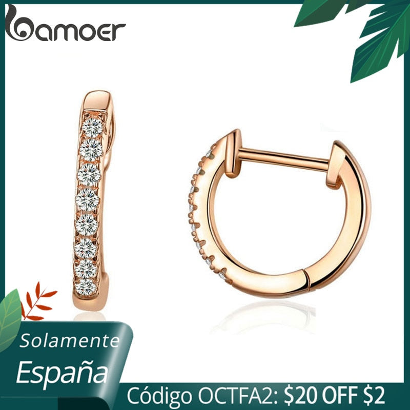 Bamoer Gold Color 925 Silver Hoop Earrings for Women with Cubic Zirconia 6 Colors Circle Earrings Wedding Jewelry SCE498