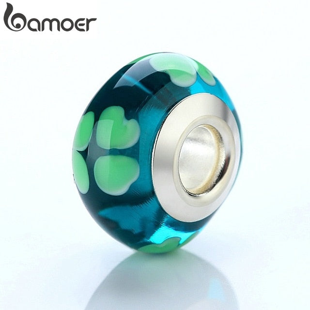 BAMOER Wholesale DIY European Green Heart Glass Beads Fit Beads Bangles & Bracelets Silver Color Jewelry Findings PA6346