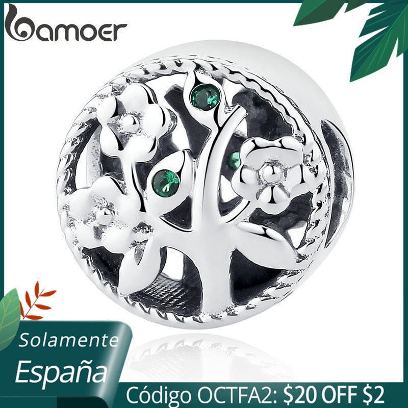 BAMOER Fashion 100% 925 Sterling Silver Tree of Life Bead Charms fit Bracelets Women Beads & Jewelry Making DIY SCC115