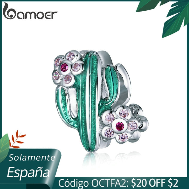 bamoer 2020 New Design 925 Sterling Silver Green Enamel Cactus with Floral Beads Charm for Original Silver Bracelet BSC261