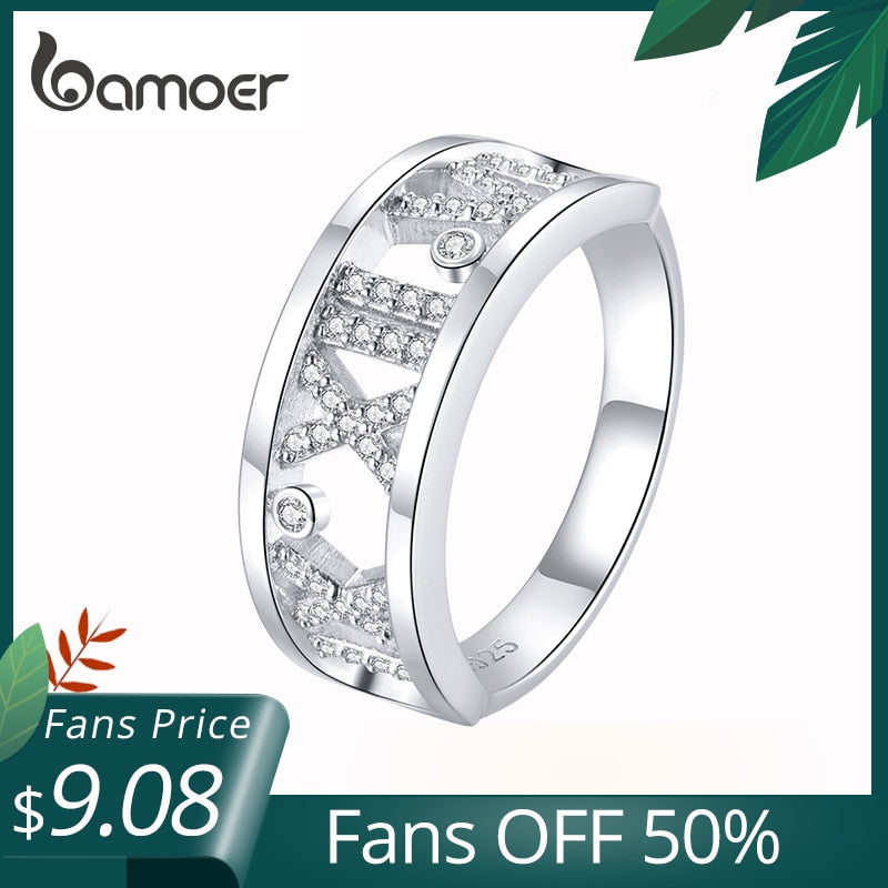 bamoer 925 Sterling Silver Gift with Bow Finger Rings for Women Roman Numeral Ring Rings Band Silver Fine Jewelry SCR687