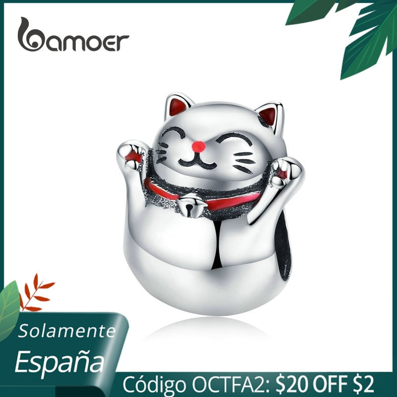 BAMOER 925 Silver Cat Metal Charm Lucky Guardian Maneki Neko Metal Beads for Women Charm Bracelets Bangles DIY Jewelry SCC1178