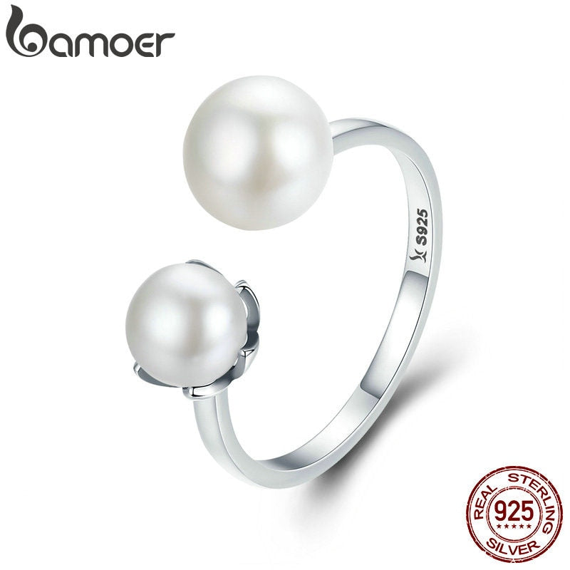 BAMOER Genuine 100% 925 Sterling Silver Double Ball Finger Ring Adjustable Women Ring Luxury Sterling Silver Jewelry SCR192