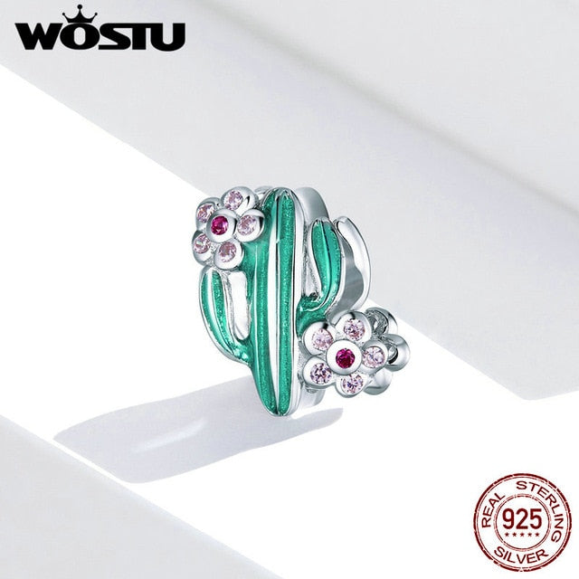 WOSTU Real 925 Sterling Silver Beads Retro Patterns Charms Pendant Fit Original Bracelet Silver 925 Jewelry
