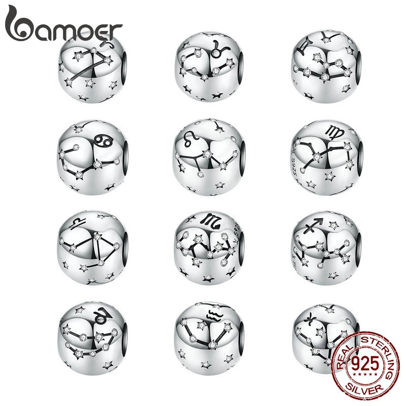 Vintage 925 Sterling Silver Aquarius Star Sign Zodiac Beads Charms fit  Bracelets DIY Twelve Constellations SCC1218