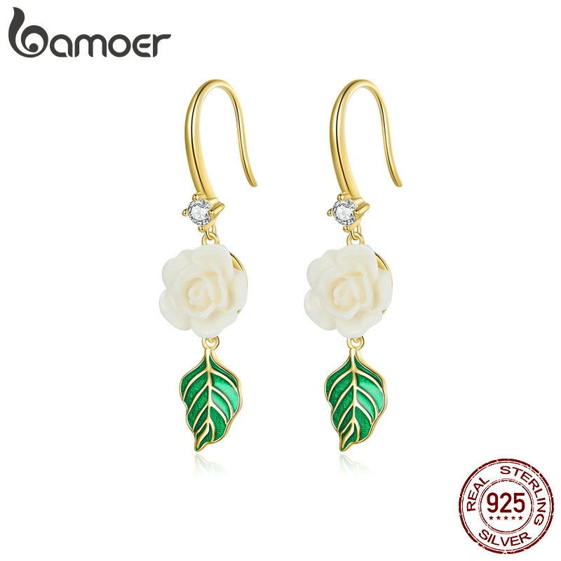 bamoer 925 Sterling Silver Champagne Rose Earrings Earrings for Women Hypoallergenic Silver Jewelry for girl earring BSE453