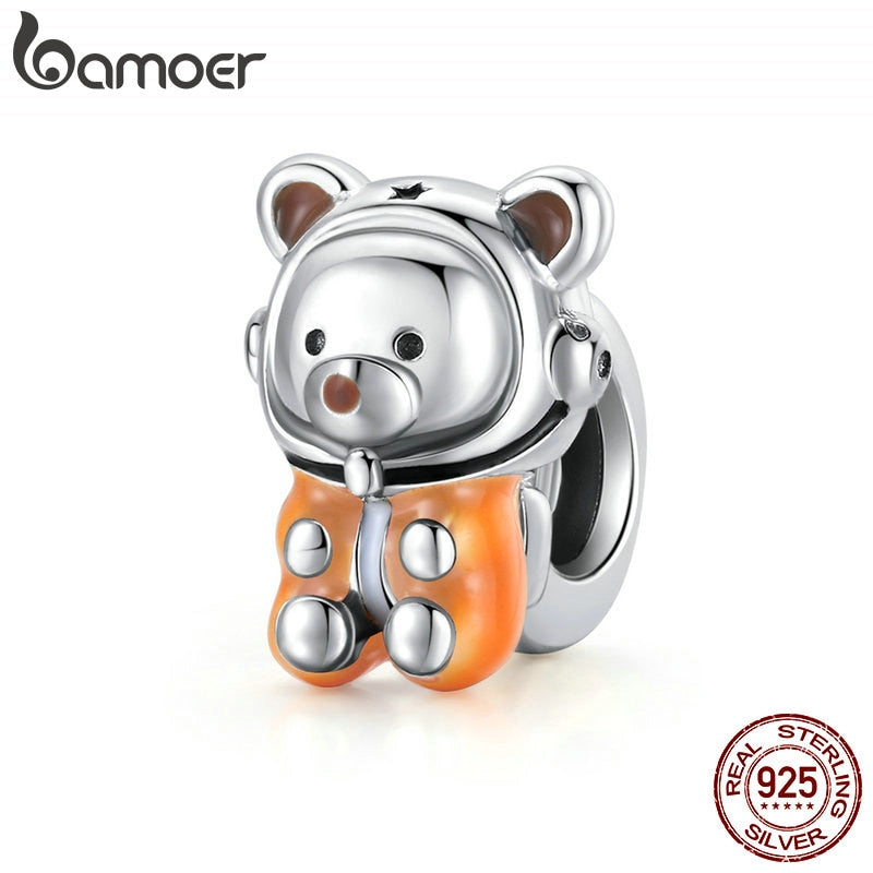 bamoer Space Bear Metal Beads Sterling Silver 925 Charm fit Original Silver Bracelet DIY Jewelry make silver beads SCC1693